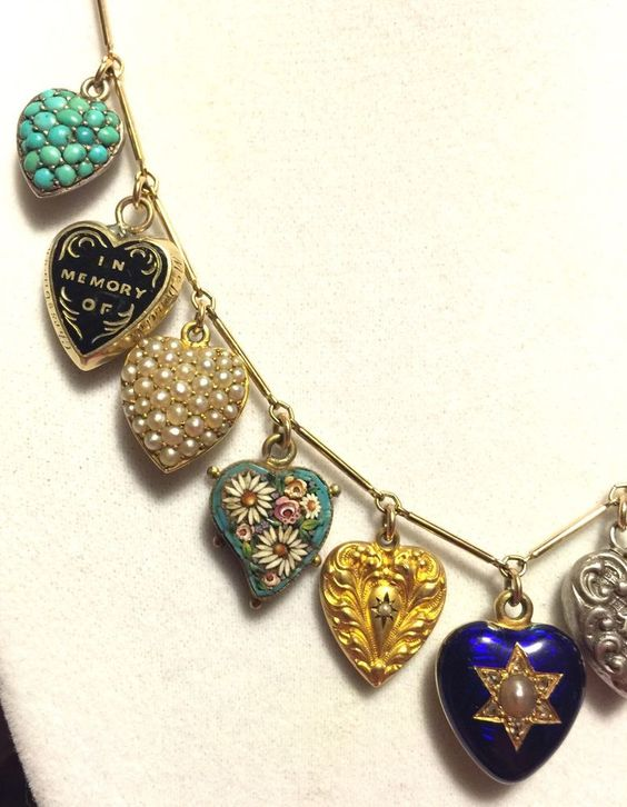 SPECTACULAR Antique Victorian Puffy Heart Charm Necklace Gold & Diamonds!