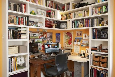 I like the idea of an office nook- I'd need to buy more books for all of those wonderful shelves, though!