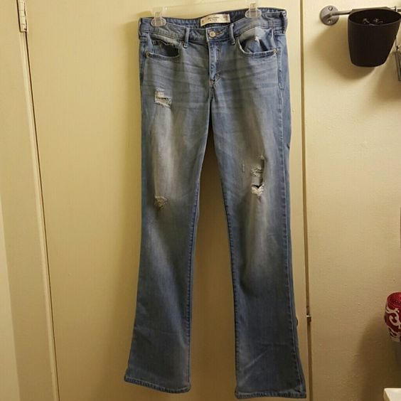 Abercrombie & Fitch light distressed denim jeans 8 Distressed denim jeans size 8 regular. Skinny boot style. Amazing condition. Abercrombie & Fitch Jeans Boot Cut