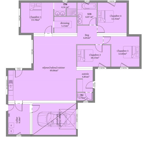 135 m² - 4 chambres - Plain Pieds