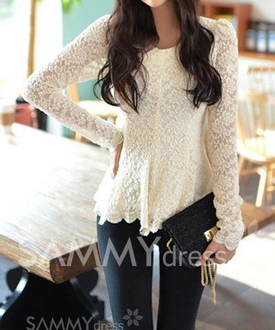 $9.83 Ladylike Scoop Neck Flouncing Long Sleeves Lace Blouse For Women