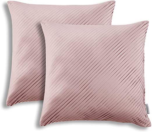2 Pcs Satin Pillowcase Luxury Smoothy Pillow Cover With Hidden Zipper Decorative Accent Throw Cushion Cov Throw Cushion Covers Satin Pillowcase Velvet Pillows