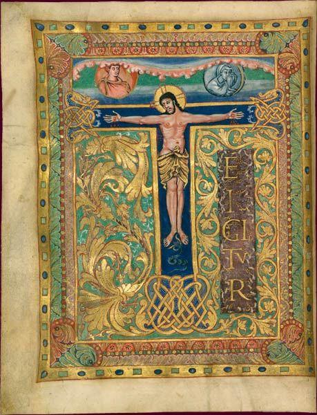 Sacramentaire de Charles le Chauve Crucifixion École du Palais de Charles le Chauve, vers 869-870 BnF, Manuscrits, Latin 1141 fol. 6v