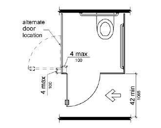 Bathroom Stall Minimum Dimensions the compartment door is hinged 4 inches (100 mm) maximum from the