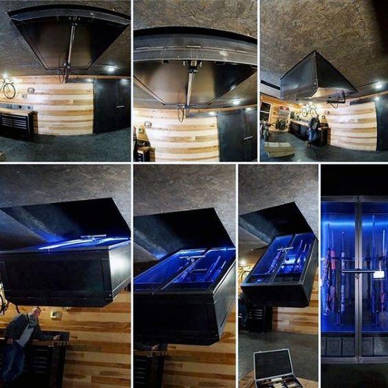 Hidden gun room design with drop down safe from ceiling for Gun safe room ideas