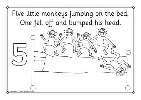 Five Little Monkeys Jumping On The Bed Colouring Sheets Sb9278