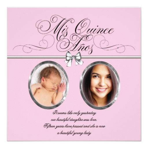 Pink Black Photo Quinceanera 5.25x5.25 Square Paper Invitation Card