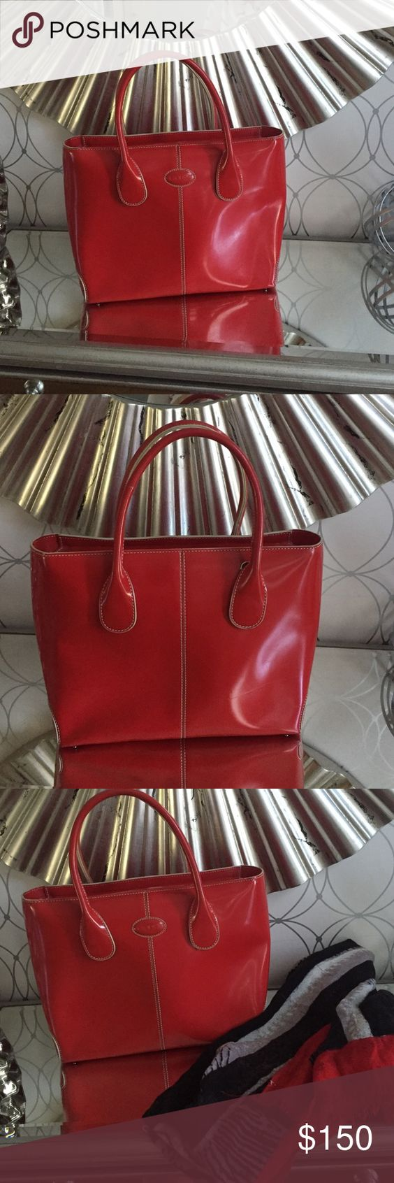 Todd Handbad Beautiful Tods Red Handbag with White Stitching. Like New Tods Bags