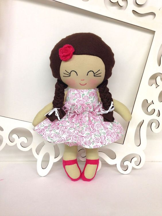 Handmade Dolls Fabric Dolls Soft Doll Cloth by SewManyPretties, $40.00