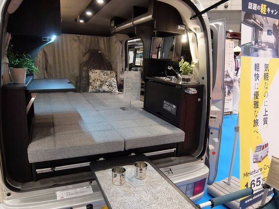 The Olive from Miniature Cruise is basically a tiny room with cooking facilities. The rear tailgate provides a cover when you want to eat outside.
