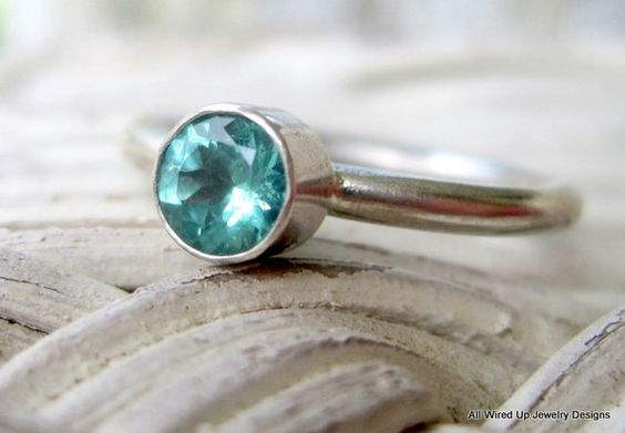 Apatite sterling stack ring - ppennee on Etsy.