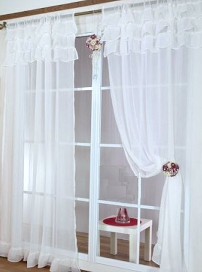 Shabby romantic chic sheer ruffles curtain drapes - baby pink or ...