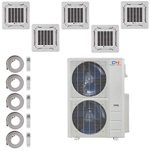 Cooper And Hunter Five 5 Zone Ductless Mini Split Ceiling Cassette Air Conditioner Heat Pump 9k 9k 9k 12k 12k C Heat Pump Ductless Mini Split Best Humidifier