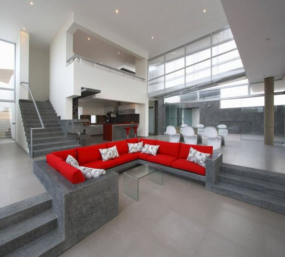 concrete/marble sofa set.....Love the colours here but not the concrete sofa...Too cold!!!!
