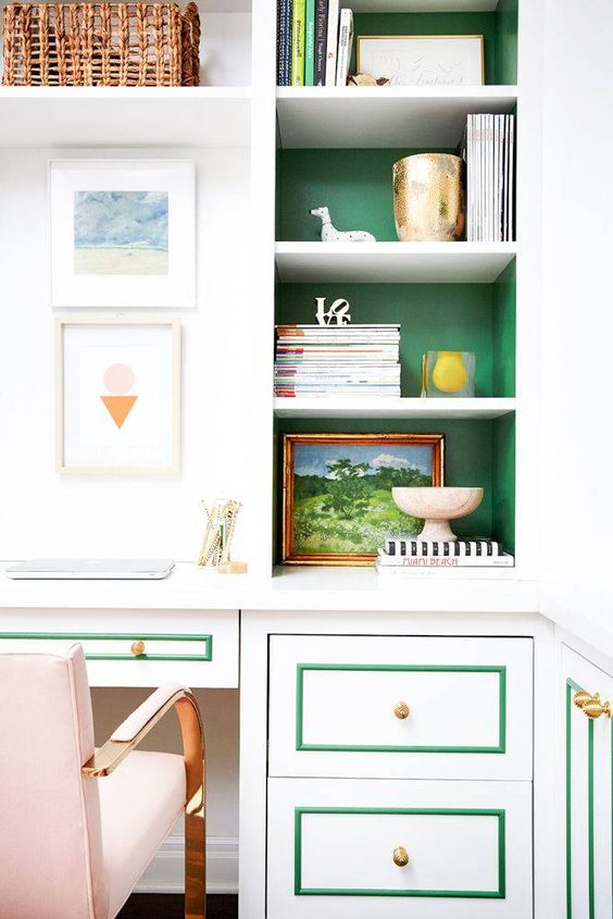 green, white, and blush home office