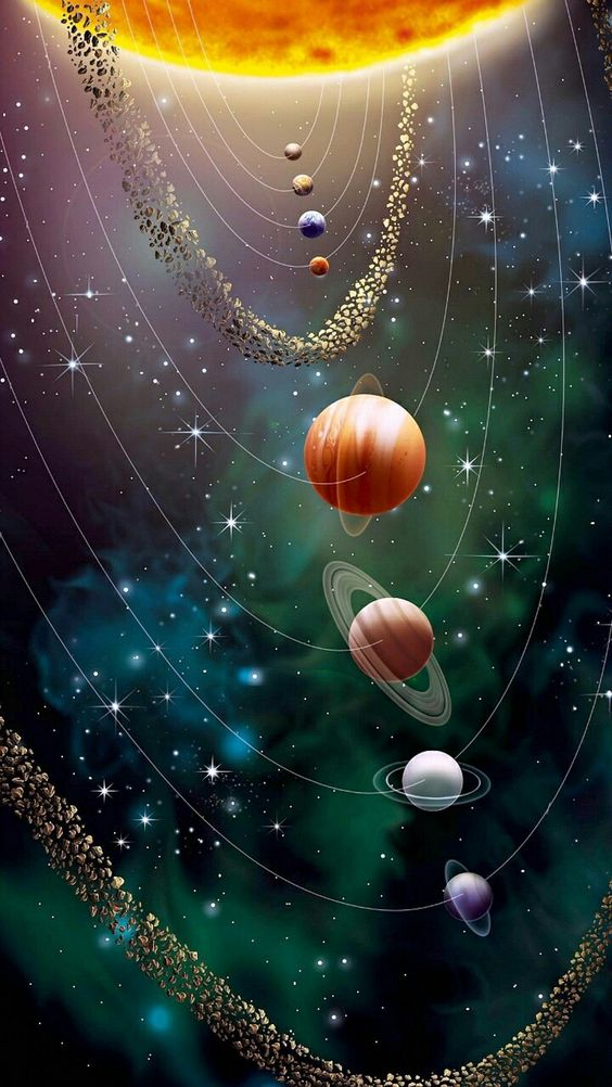 Colorful depiction showing relative sizes of sun and planets.  Orbital positions are in correct sequence but are not to scale