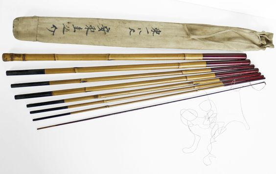 Antique japanese fishing pole traditional lacquered bamboo for Bamboo fishing poles