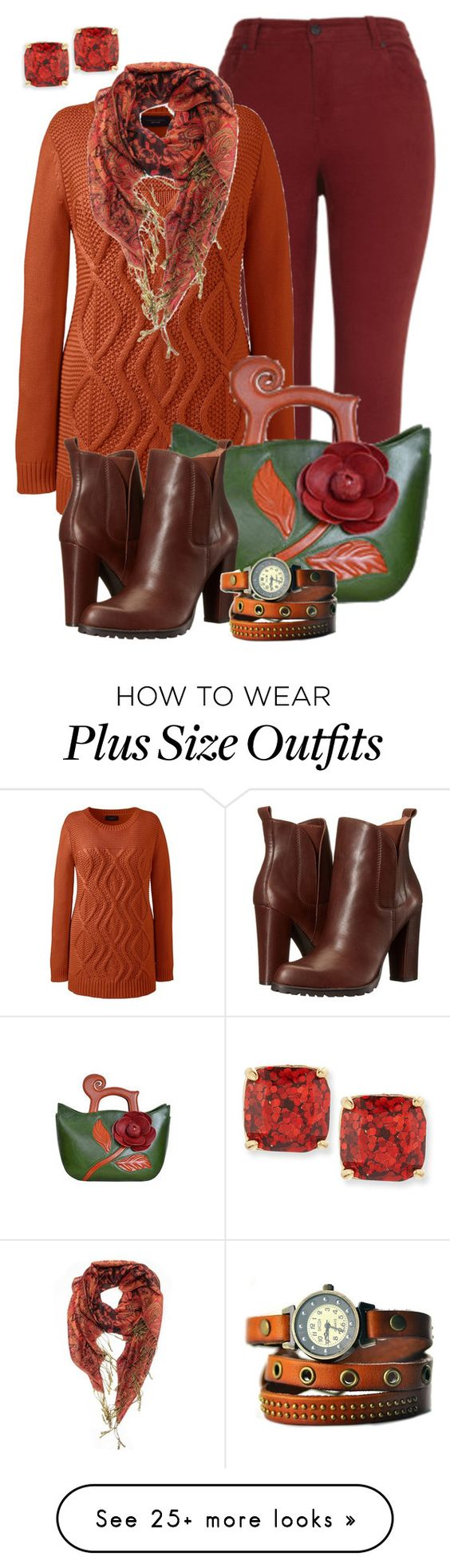 """Fall Outfit -- #Plus Size"" by kimberlyn303 on Polyvore featuring Lands' End, Kate Spade, BCBGeneration and plus size clothing"