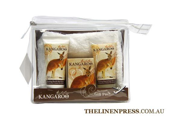 Australian Kangaroo Gift Pack – with Quandong Extract  Contains 1 x Hand & Nail Cream 60ml;   1 x Hand & Body Wash; 1 x Soap 100g; 1 Face washer in reusable cosmetic bag.  $25.95  #australianflora #australianfauna #naturalsoap #australianmade #redkangaroo