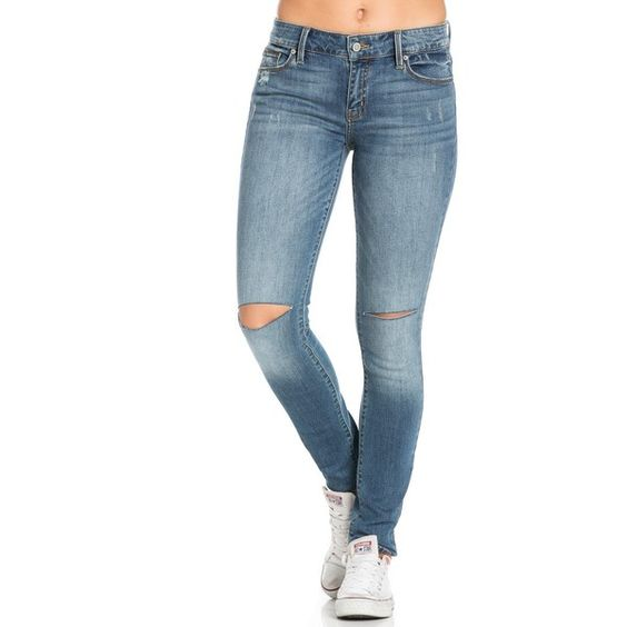 Lauren Mid Rise Skinny Jeans (46 AUD) ❤ liked on Polyvore featuring jeans, mid-rise jeans, stretch denim skinny jeans, ripped skinny jeans, torn jeans and stretchy skinny jeans