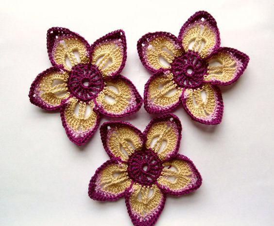Fil Crochet fleur Applique grand purple couleur beige 3,5 pouces