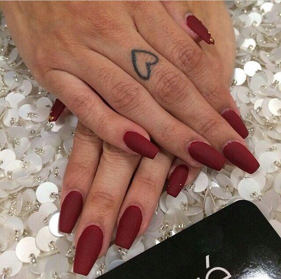 Red matte coffin shape | Super cute nails