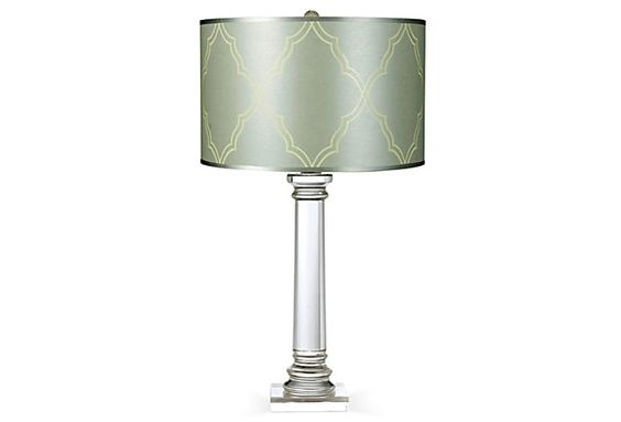 Trellis Table Lamp on OneKingsLane.com - $259.00 - The classic solid crystal base of the Trellis table lamp is highlighted by the hand-printed satin silver-blue paper shade. The Trellis table lamp and the pattern it is named for are exclusive designs by Candice Olson.