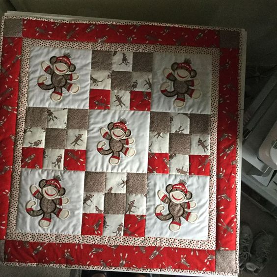 Beverly Adams Stitched Out This Cute Quilt Sock Monkey