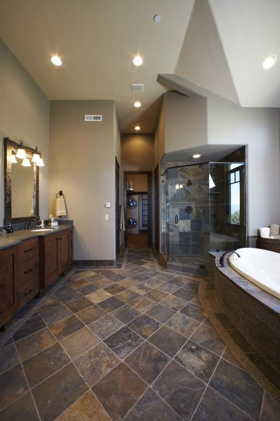 Slate flooring pictures pinterest wood vanity for Slate tile bathroom ideas