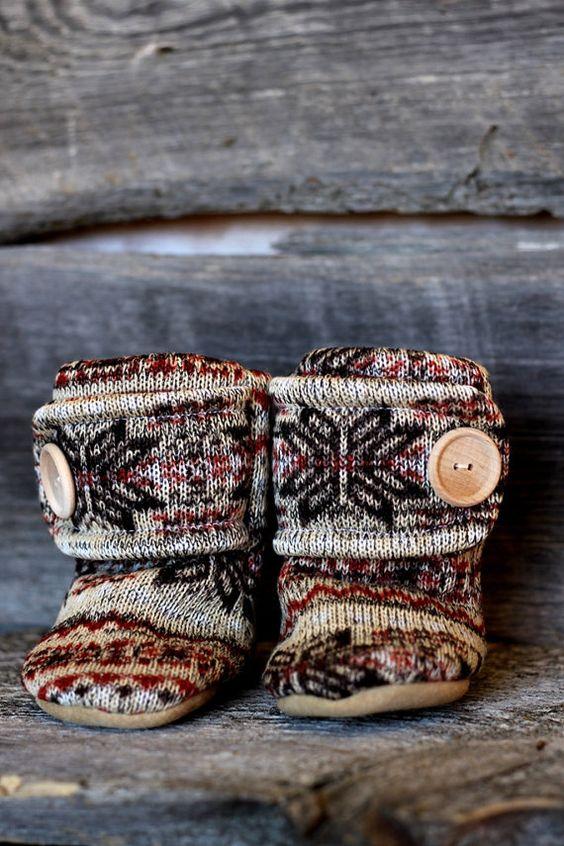 Nordic Leather Soled Fleece Baby Booties. by handmadetherapykids