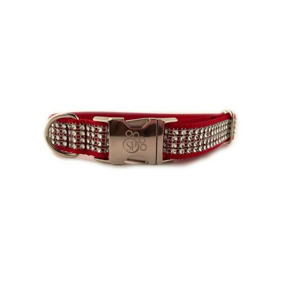 Crimson Fashion BLING Dog Collar with Metal Buckle
