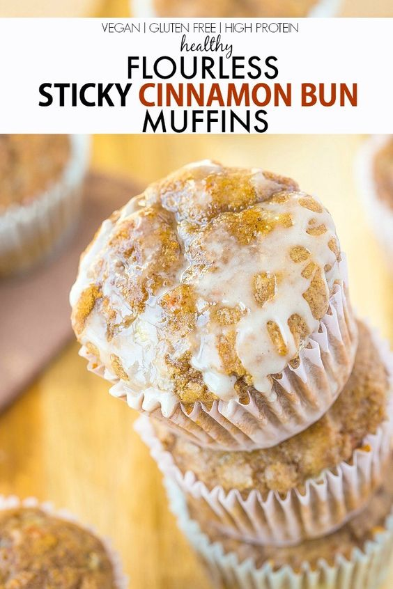 Healthy Flourless Sticky Cinnamon Bun Muffin recipe- Delicious, quick ...