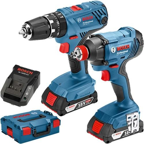 Click To Enlarge Bosch 18v Lightseries Gsb 18v 21 Combi Drill Gdx 18v 180 Combi Impact Driver Wrench Twin Pack With Two 2 0ah Bat Impact Driver Bosch Drill
