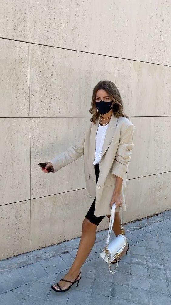 "Alexandra Pereira on Instagram: ""Favorite song at the moment 🖤 Blazer: zara Biker shorts: zara Bag: Louis Vuitton Tee: Mango  Sandals: zara Mask: U mask"""