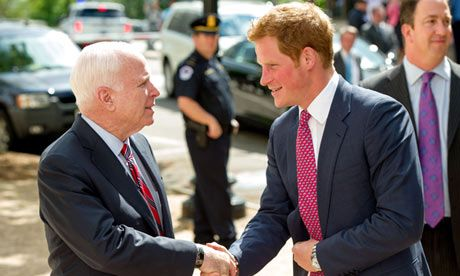 """Harry looking at McCain as the common trash Prince Harry arrives at Capitol Hill, ~~~""""Common Trash?"""" A bit harsh! The Prince is here to observe our Wounded Warrior Program & will be attending several fund raising events for WW & also visiting wounded at Walter Reed Army Medical. At last check, England was our closest ally despite our President's attempts to alienate them. Let's hope Prince Harry's trip is a pleasant one & that his presence at the fund raising events help insure their…"""