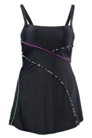 Badjurk - kort jurkje en badpak in één. Met spaghettibandjes en paspels met dessin. Softcups, voering voor (100% polyamide), band onder de buste. Be...