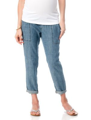 Pull On Style Chambray Cropped Straight Leg Maternity Crop Pants