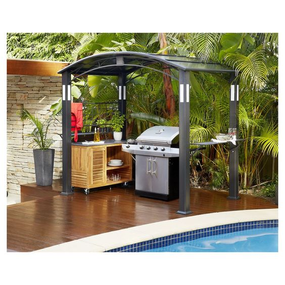 Finlay smith bbq metal hardtop gazebo masters home for Garden pond grills