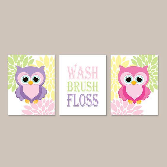 Owl Bathroom Decor Wash Brush Floss Bathroom Rules Wall
