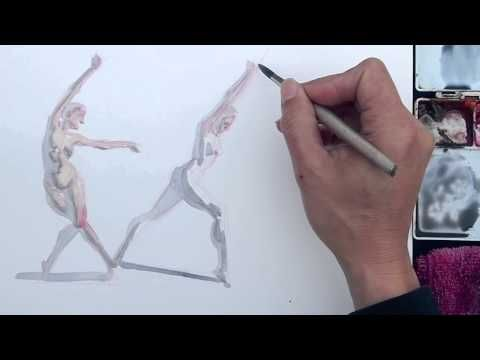 Watercolor Sketch Demo: 5 minute poses - YouTube
