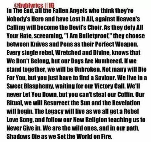 BVB lyrics ^.^ | Black Veil Brides | Pinterest | Lyrics, Paragraph ...