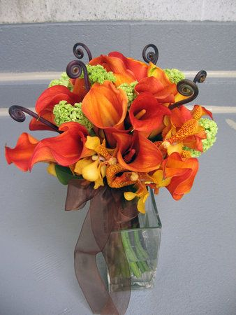 Flowers, Bouquet, Green, Orange, Brown, Bridal  Sams note: this was the inspiration for our bridesmaids bouquets