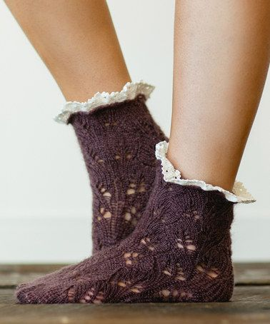Another great find on #zulily! Plum Crochet-Knit Ankle Socks - Women #zulilyfinds