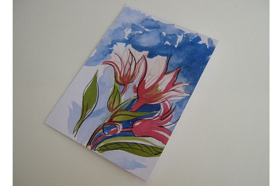 Tulips in the sky. Hand made watercolor card.