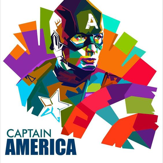 Captain America on WPAP by me #wpap #captainamerica #art #popart #digitalart #indonesianart #coreldraw