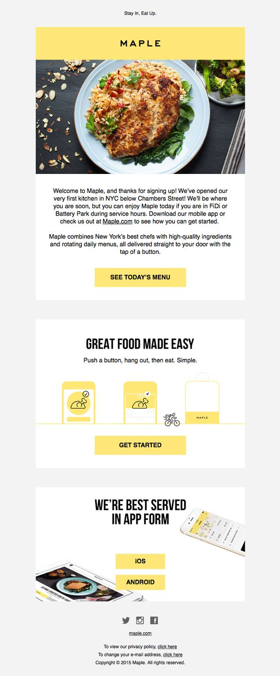 Maple sent this email with the subject line: Welcome to Maple, We're in FiDi! - Beside the lustworthy imagery of a delicious meal made by MAPLE, this welcome email makes good use of typography, illustration, color and copy to peak your interest and click through to get started. Read about this email and find more onboarding emails at ReallyGoodEmails.com #app #welcome #onboarding
