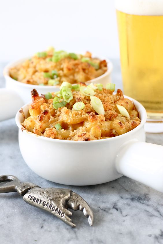 Crab macaroni and cheese. This is the easiest, YUMMIEST fancy mac & cheese I've tried yet! We made it with imitation crab and doubled the recipe. It was a huge hit! The Old Bay seasoning really helps give it that little zing to put it at the top of my recipe list. The kids LOVED it! Goes great with asparagus, too.