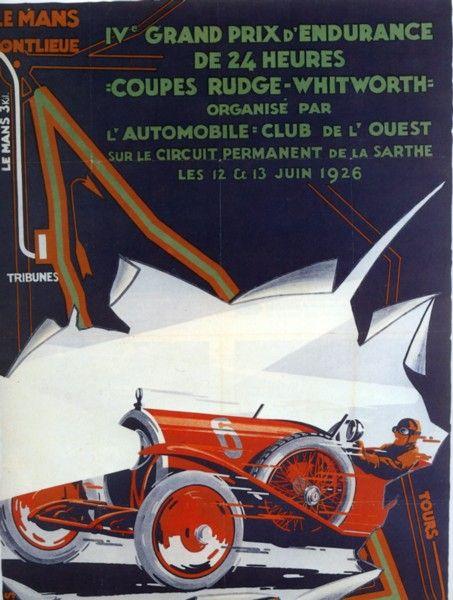 1926 belle affiche pour cette 4 me dition des 24 heures du mans le mans pinterest belle. Black Bedroom Furniture Sets. Home Design Ideas