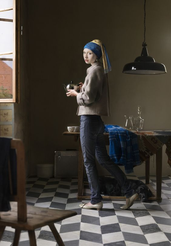 """""""Artist Dorothee Golz. One of her digital painting projects takes classic Renaissance paintings (such as Girl with a Pearl Earring by Johannes Vermeer) and transfers them into modern situations."""""""
