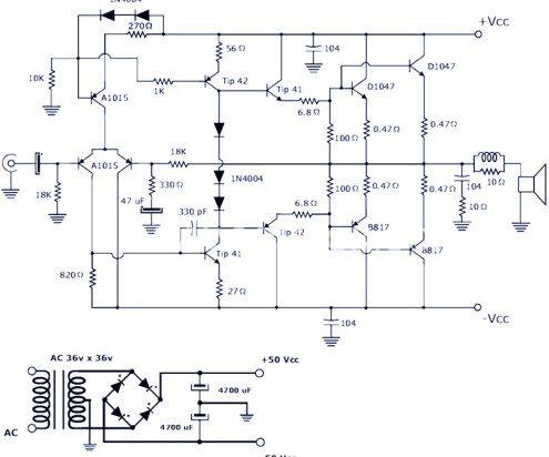 200w Power Amplifier Using Transistor Power Amplifiers Audio Amplifier Electronics Circuit